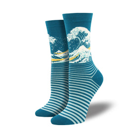 The Wave Bamboo Funny Summer Womens Novelty Crew Socks