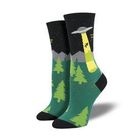 Alien Abduction Funny UFOs Womens Novelty Crew Socks