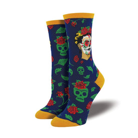Dia De Los Frida Funny Skulls Womens Novelty Crew Socks