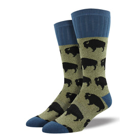 Outlands Bison Funny Wildlife Mens Novelty  Socks