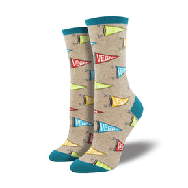Let Yo Vegan Flag Fly Funny Food & Drink Womens Novelty Crew Socks