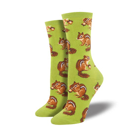 Chipmunk Cheeks Funny Wildlife Womens Novelty Crew Socks