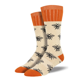 Outlands Bee Funny Wildlife Mens Novelty Crew Socks