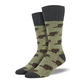 Outlands Beaver Funny Wildlife Mens Novelty Crew Socks