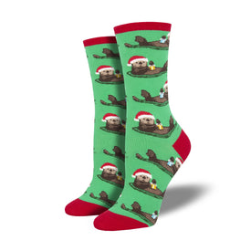 Otterly Merry Funny Winter Womens Novelty Crew Socks