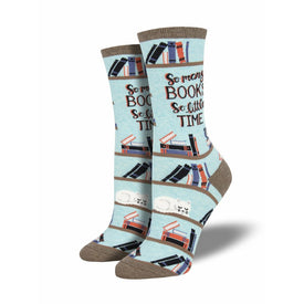 Time For A Good Book Funny Teachers Womens Novelty Crew Socks