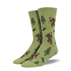 Bigfoot Funny Outdoors Mens Novelty Crew Socks