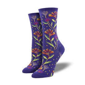 Wildflowers Funny Outdoors Womens Novelty Crew Socks