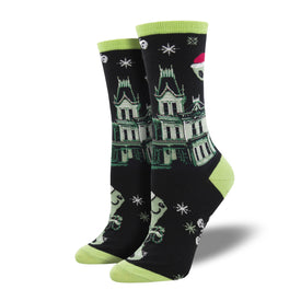 Twas A Ghosty Christmas Funny Winter Womens Novelty Crew Socks