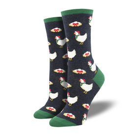 Clucking Christmas Funny Winter Womens Novelty Crew Socks