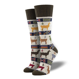 Llama Out of Here Wool Funny Outdoors Unisex Novelty Crew Socks