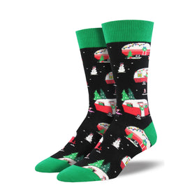 Christmas Campers XL Funny Winter Mens Novelty Crew Socks