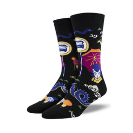 Bus Stop Funny Funky Mens Novelty Crew Socks