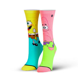 Spongebob Squarepants: Spongebob & Patrick Funny Pop Culture Womens Novelty Crew Socks