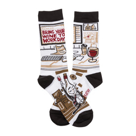 Wine To Work Funny Words Womens Novelty Crew Socks