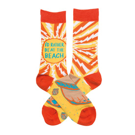 At The Beach Funny Words Womens Novelty Crew Socks
