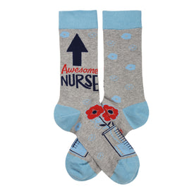 Awesome Nurse Funny Words Womens Novelty Crew Socks
