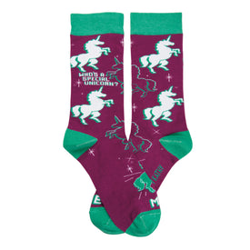Special Unicorn Funny Words Womens Novelty Crew Socks