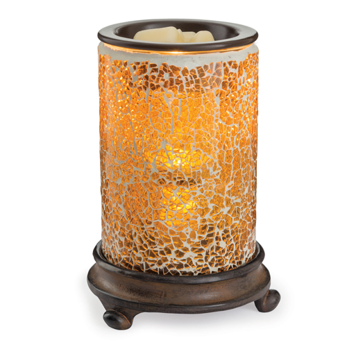 Crackled Amber Glass Illumination Warmer