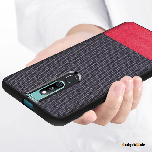 Oppo F11 Pro Dual Color Leather + Natural Cloth Texture Case