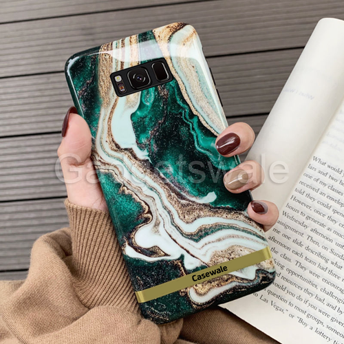 Galaxy S8/ S8 Plus Glossy Agate Marble Glass Case