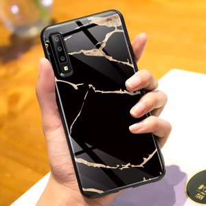 Galaxy A7 2018 Golden Lighting Tempered Glass Case