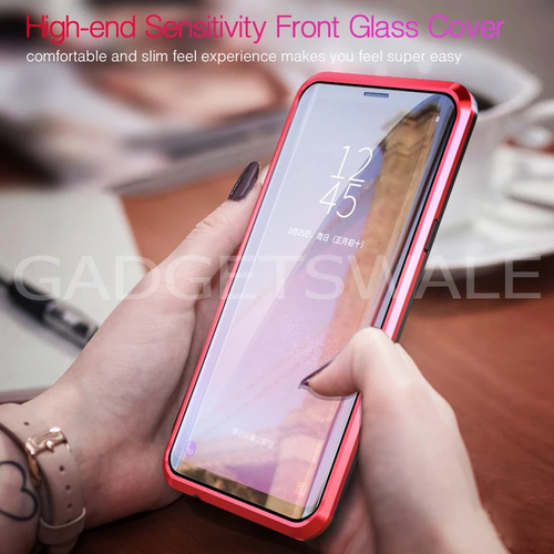Galaxy for A9 2018 LUPHIE Double Glass 2nd Generation Magnetic Glass Case [100% Satisfation Guaranteed]