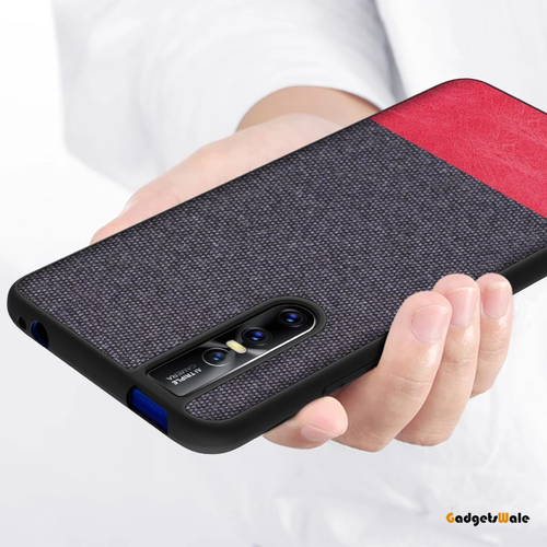 Vivo V15 & V15 Pro Dual Color Leather + Natural Cloth Texture Case
