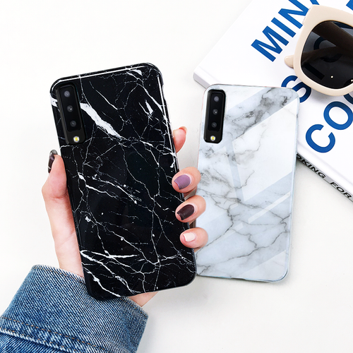 Galaxy A7 2018 Textured Marble Tempered Glass Case