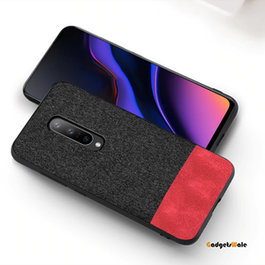 OnePlus 7 Pro Dual Color Leather + Natural Cloth Texture Case