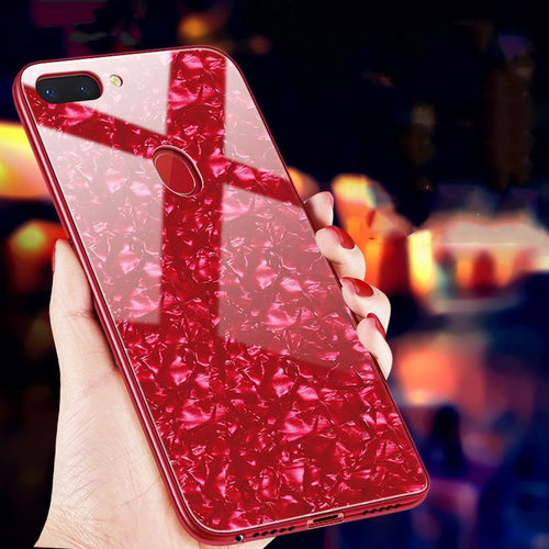 Oppo F9 Pro Luxury Marble Pattern Tempered Glass Case