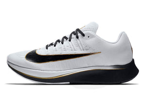 Nike Men's Zoom Fly Running Shoes-Black/White/Metallic Gold-10
