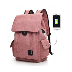 Women Men Casual Canvas Backpack with USB Charging Port Travel Work College School Bag Fits 15.6 inch Laptop