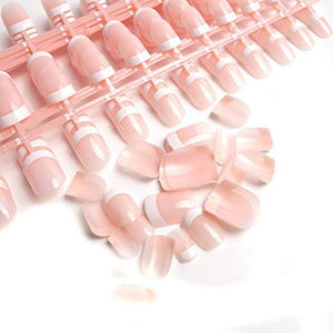 240 Pcs 12 Different Size Natural French Short False Nails Acrylic Full Cover Nails with Simple Case (240Pcs)