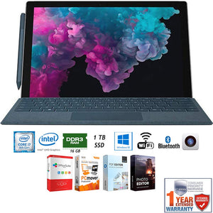 "Microsoft KJW-00001 Surface Pro 6 12.3"" Intel i7-8650U 16GB/1TB Convertible Laptop + Elite Suite 17 Software Bundle (Office Suite Pro, Photo Editor, PDF Editor, PCmover Pro) + 1 Year Extended Warranty"