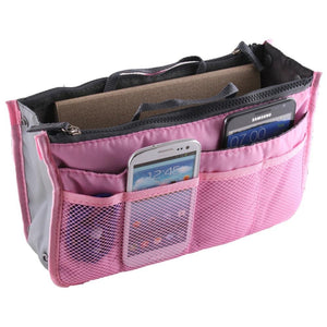 Large Purse Organizer Insert Handbag Pouch Tidy & Neat (Ships From USA) (pink)