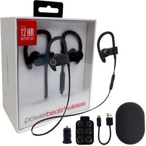 Beats by Dr. Powerbeats3 Wireless In-Ear Headphone W/MKK Car Adapter (Renewed) (Black)