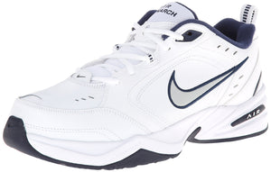 Nike Men's Air Monarch IV Cross Trainer, White/Metallic Silver/Midnight Navy,