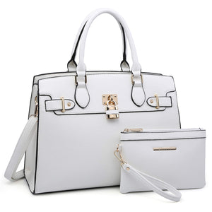 Women Handbags and Purses Ladies Shoulder Bag Ostrich Top Handle Satchel Tote Work Bag with Wallet (23- White)