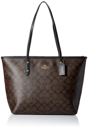 Coach Signature City Zip Tote F58292 - Brown/Black
