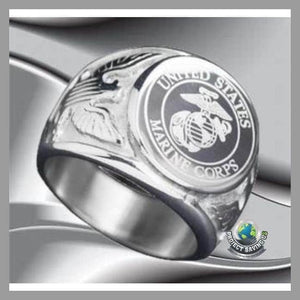 USA Military MARINE CORPS Signet Stainless Steel Ring (FS) - Rings