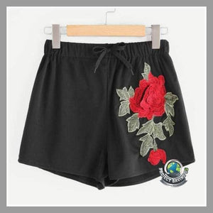 Womens Summer Floral Embroidery Casual Slim High Waist Soft Cotton Shorts (NE) - Black / L - Shorts