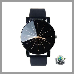 Mens Luxury Brand Quartz Leather Wrist Watch (NE) - Black - Watches