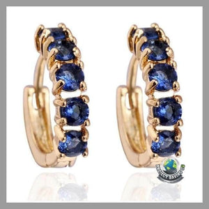 Women Rhinestone Hook Stud earrings (USO) - Blue - Earrings