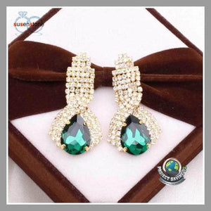Womens Rhinestone Big Drop Earrings Vintage Earings (CC) - Earrings