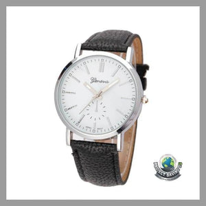 Mens Casual Geneva Leather band Quartz Watch (FH) - Watches