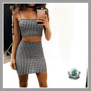 Womens Suit Sleeveless Plaid Crop Top Shirt/Shorts (TT) - Shorts
