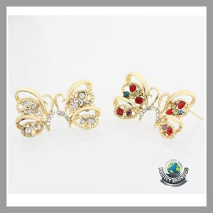 Womens Crystal Colorful Butterfly Stud Earrings (PD) - Earrings