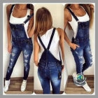 Women Ripped Denim Overalls Pants