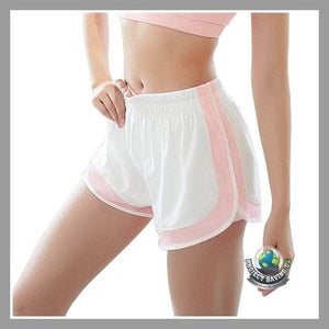 Womens Double Layer Gym Workout Yoga Running Shorts (CH) - Pink / L - Shorts